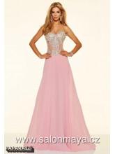06771d478fe VÝPRODEJ 3900 Kč - Světlounce růžové šaty s pruhledným korzetem